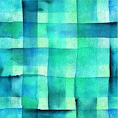 An abstract vector and watercolor background texture with vibrant teal blue squares