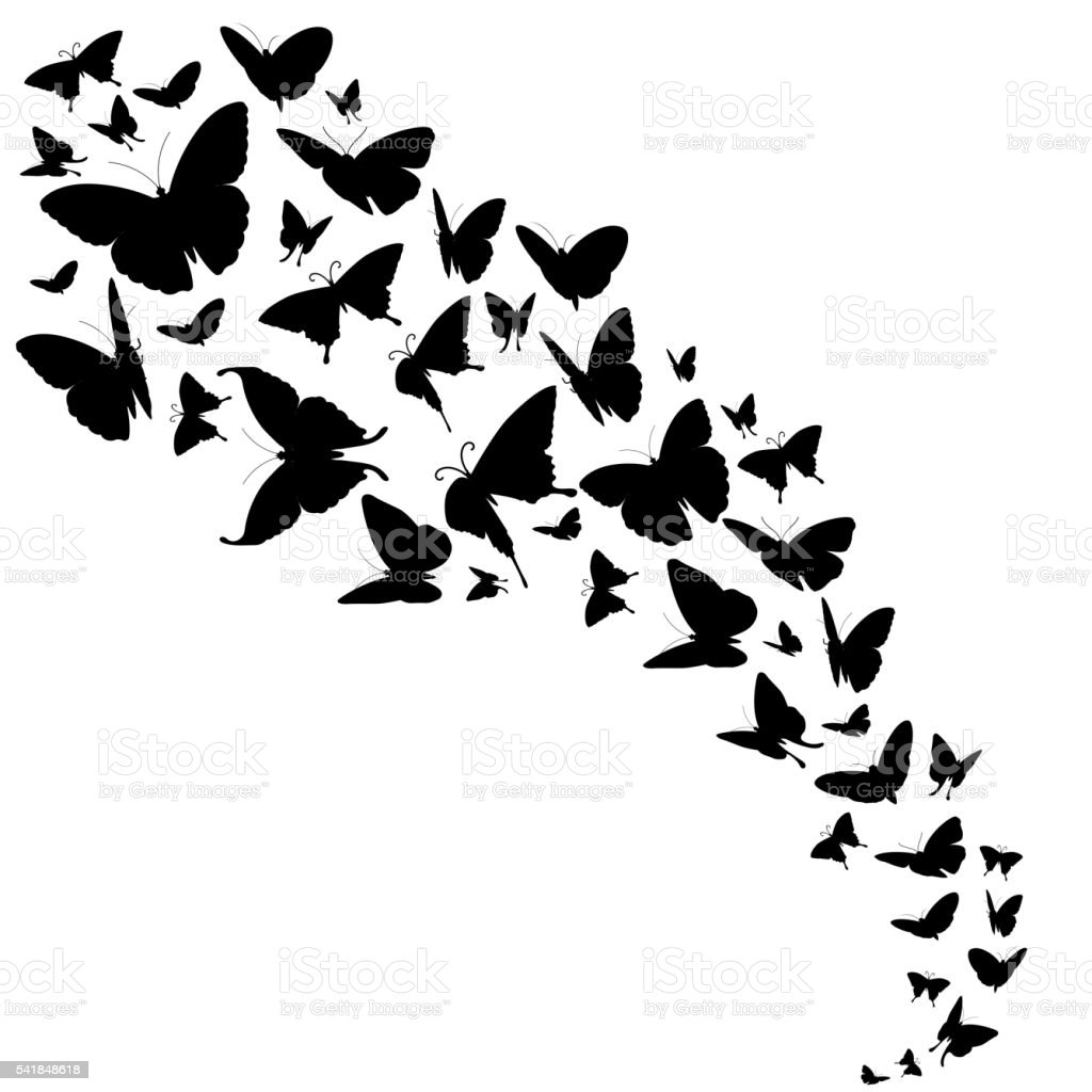 Abstract vector backdrop with butterflies design vector art illustration