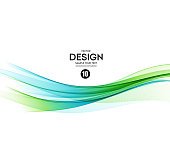 Abstract vector background, blue and green wavy