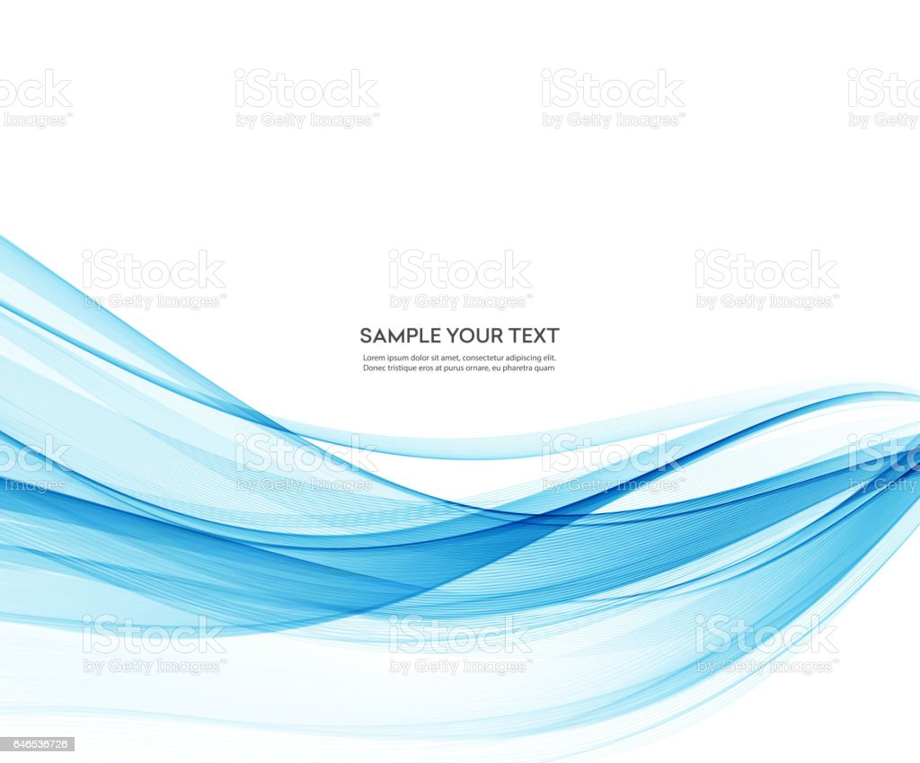 Abstract vector background, blue wavy vector art illustration