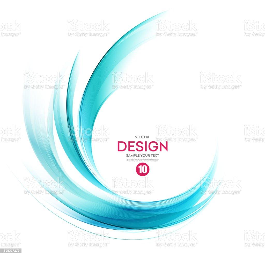 Abstract vector background, blue wavy vector art illustration
