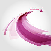 Abstract vector background element in red, pink and white colors curve perspective.