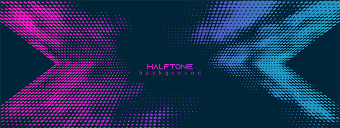 Abstract vector background. Halftone gradient gradation. Vibrant flowing texture. Smoke effect. Retro design. 80s, 90s style color