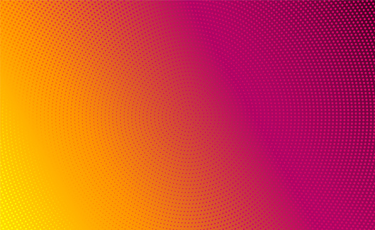 Abstract vector background. Halftone gradient gradation. Vibrant texture. Orange, red and purple retro color. 80s style.