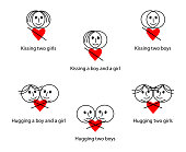 Abstract vector background of kissing and hugging between different genders. Creative icon set of human relationships