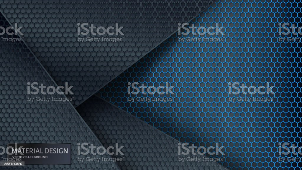 Abstract vector background. Overlapping carbon grid. Material Design style. - illustrazione arte vettoriale