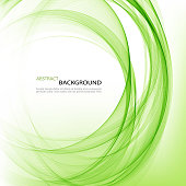 Abstract vector background round green wavy circle shape lines circles transparent wave frame
