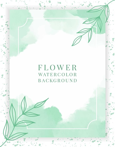 Abstract vector background template wedding invitation greeting  card, posters or banner with hand drawn line floral green olive branch with pastel or watercolor. Modern cover design post social media