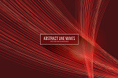 Wave Pattern, Technology, Neon, Wallpaper - Decor, Web Banner, Red