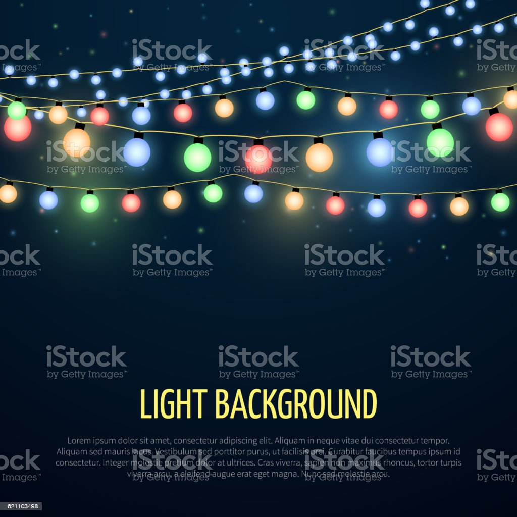 Abstract vector background with christmas garland lamp lights decoration vector art illustration