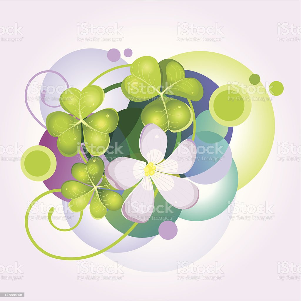 Abstract vector background with clover and flower. royalty-free abstract vector background with clover and flower stock vector art & more images of anniversary card