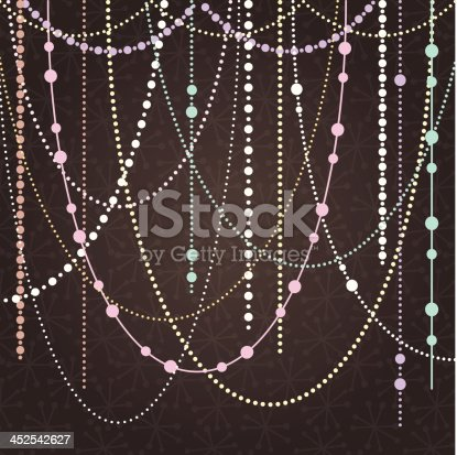 Abstract Vector Background with Hanging Garlands and Lights. Large JPG included. Gradient used in background.