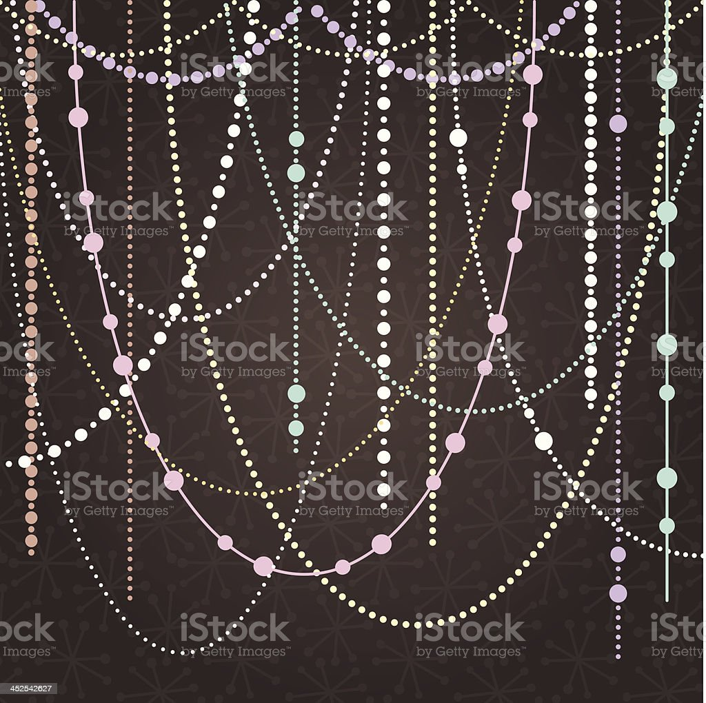 抽象的なベクトルの背景に、ぶら下がる飾りと照明 ベクターアートイラスト