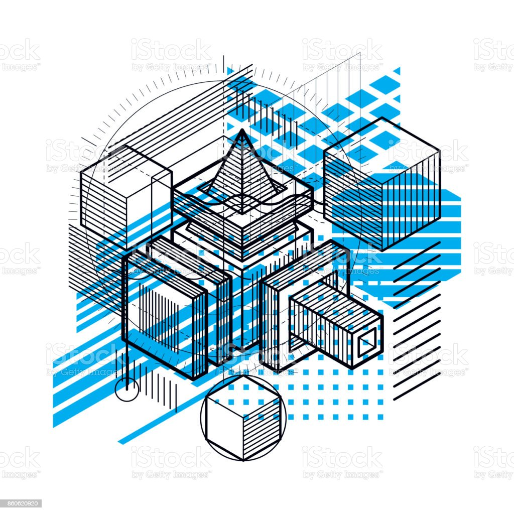 Fondo de vector abstracto con formas y líneas isométricas. Cubos, hexágonos, cuadrados, rectángulos y diferentes elementos abstractos. - ilustración de arte vectorial