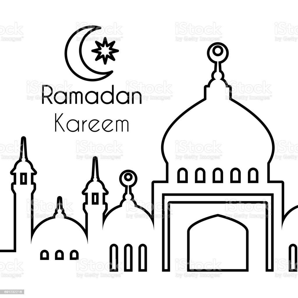 Abstract Vector Background With Linear Silhouette Of Mosque Stock