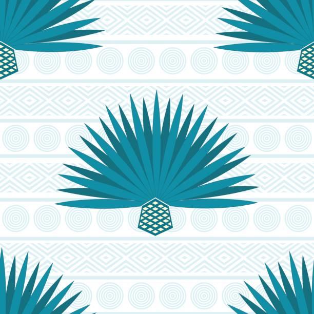 Fondo de vector abstracto con maguey. Patrón sin fisuras con agave azul - ilustración de arte vectorial