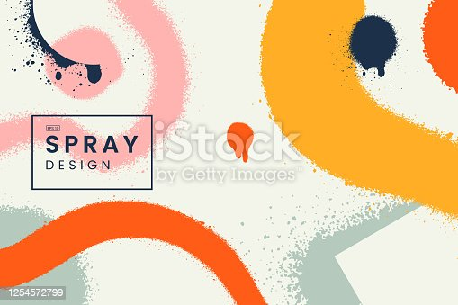 istock Abstract vector background with spray paint texture. Colorful graffiti backdrop with blots of paint and place for text. Contemporary poster concept. Art banner design. Grunge style. 1254572799