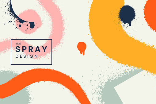 Abstract vector background with spray paint texture. Colorful graffiti backdrop with blots of paint and place for text. Contemporary poster concept. Art banner design. Grunge style.