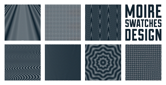 Abstract vector backgrounds set made with linear Moire, op art effect surreal textures, sound and music waves theme, black and white grid abstractions.