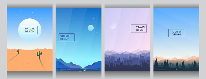 Abstract vector backgrounds set. Sunny desert with cactus, road between mountains, buildings silhouettes and forest with clear blue sky. Cover design. Poster and brochure template. Vertical wallpapers