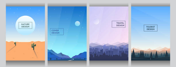 Abstract vector backgrounds set. Sunny desert with cactus, road between mountains, buildings silhouettes and forest with clear blue sky. Cover design. Poster and brochure template. Vertical wallpapers Abstract vector backgrounds set. Sunny desert with cactus, road between mountains, buildings silhouettes and forest with clear blue sky. Cover design. Poster and brochure template. Vertical wallpapers adventure patterns stock illustrations