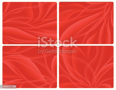 Four Abstract Vector Backgrounds representing flowers´petals. Basic gradients and blends used. These images DO NOT use Illustrator´s Gradient Maps, so they´re compatible with Freehand and Illustrator (both program´s native files included in the .zip, besides a low resolution .jpg).
