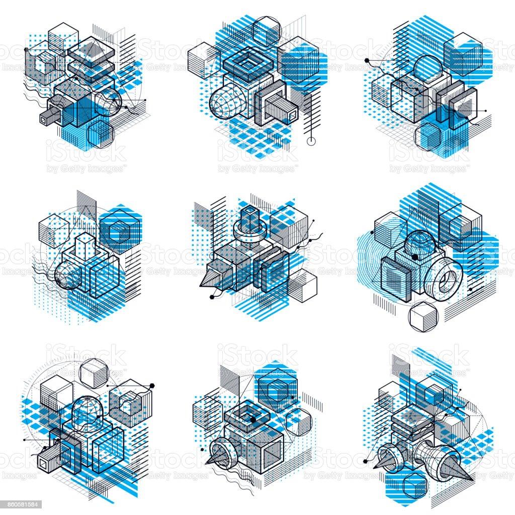 Fondos de vector abstracto con formas y líneas isométricas. Cubos, hexágonos, cuadrados, rectángulos y diferentes elementos abstractos. Colección de vector. - ilustración de arte vectorial