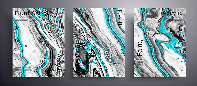 Abstract vector banner, texture pack of fluid art covers. Beautiful background that applicable for design cover, invitation, flyer and etc. Black, white and blue creative iridescent artwork.