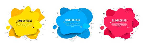 abstract vector banners. geometric liquid forms. template bagdes. modern design. various colors modern vector - shapes stock illustrations