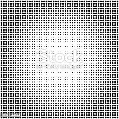Abstract vector black and white dotted halftone background. Dot radial pattern.