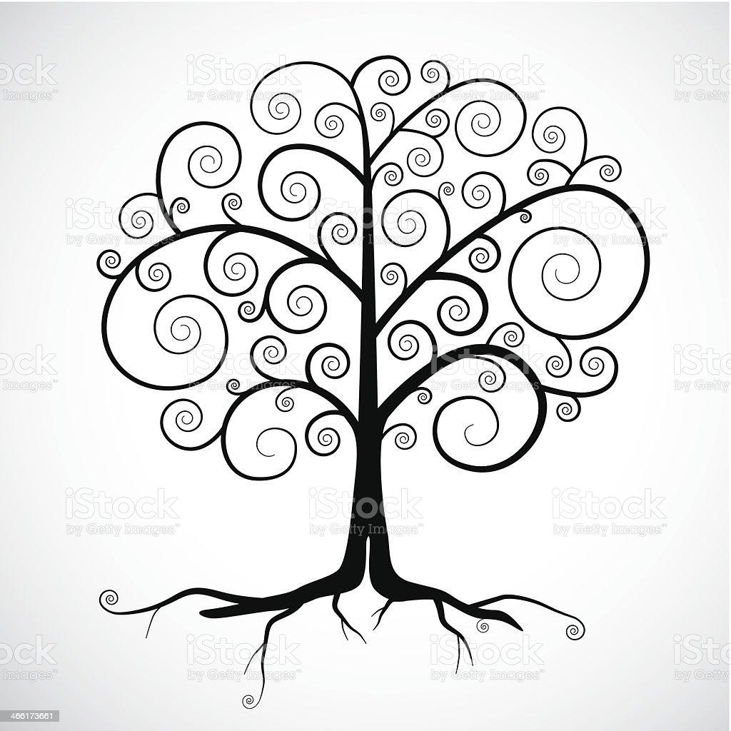 Abstract Vector Black Tree Illustration vector art illustration