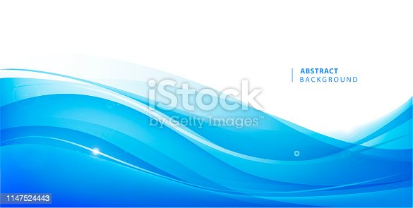 Abstract vector blue wavy background. Graphic design template for brochure, website, mobile app, leaflet. Water, stream abstract illustration