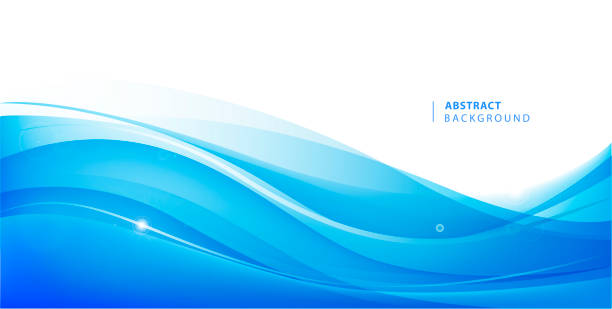 Abstract vector blue wavy background. Graphic design template for brochure, website, mobile app, leaflet. Water, stream abstract illustration Abstract vector blue wavy background. Graphic design template for brochure, website, mobile app, leaflet. Water, stream abstract illustration wave water stock illustrations