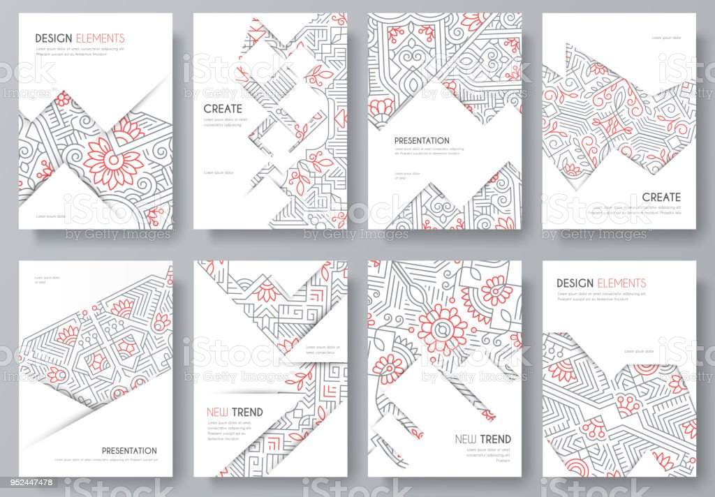 Abstract Vector Brochure Cards Set Outline Art Template Of Flyer