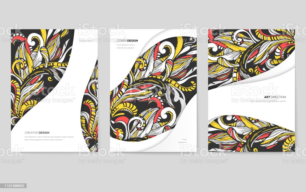 Abstract vector brochure cards set. Print art template of flyer,...