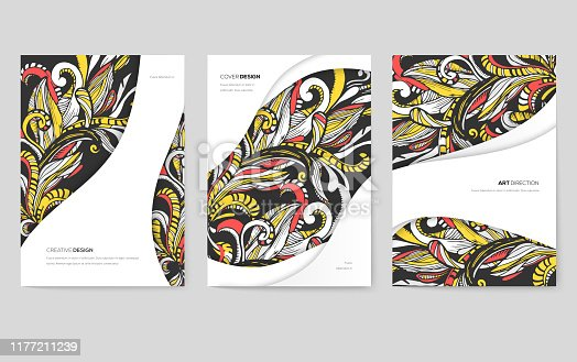 Abstract vector brochure cards set. Print art template of flyer, magazines, posters, book cover, banners. Colorful design invitation concept background. Layout ornament illustrations modern