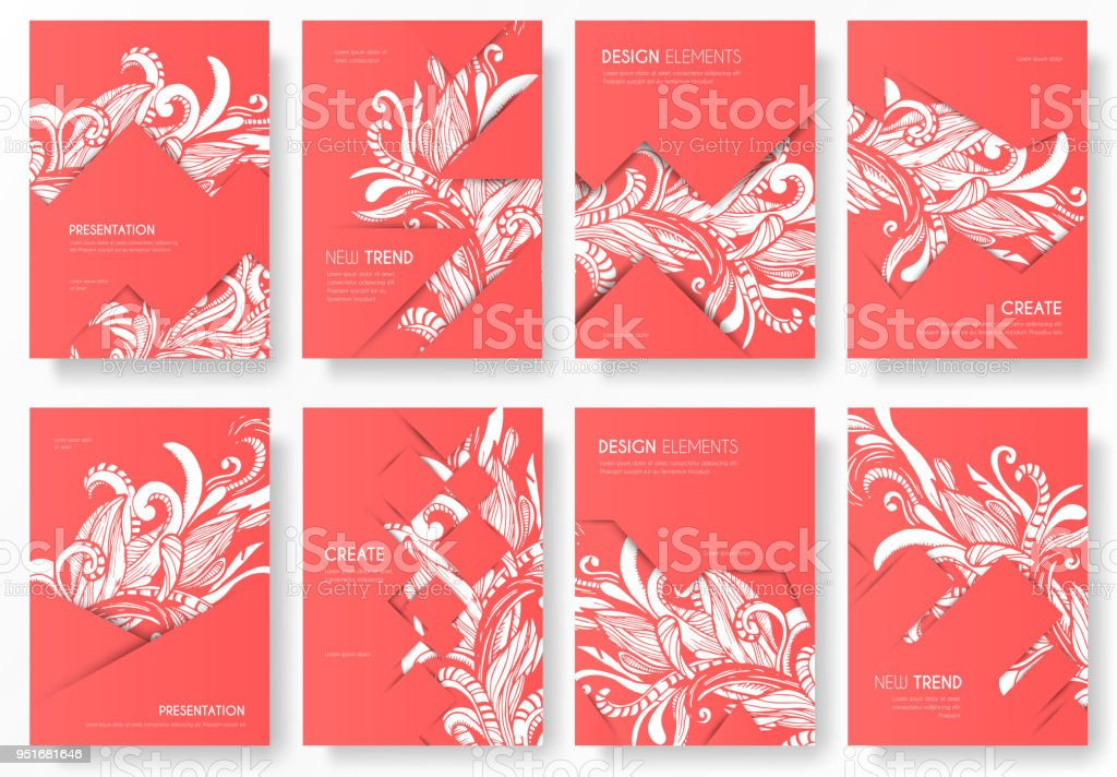 abstract vector brochure cards set print art template of flyer