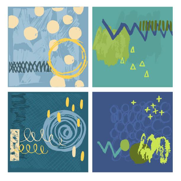 ilustraciones, imágenes clip art, dibujos animados e iconos de stock de cartas vectoriales abstractas con elementos dibujados a mano. - conceptos y temas