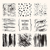 Hand drawn textures and brush strokes. Artistic collection of handcrafted design elements: scribble textures, wavy lines, ink paint dabs, grunge backgrounds, natural patterns. Isolated vector set.