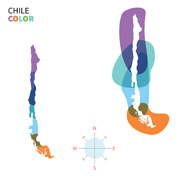abstract vector color map of chile with transparent paint effect. - şili stock illustrations