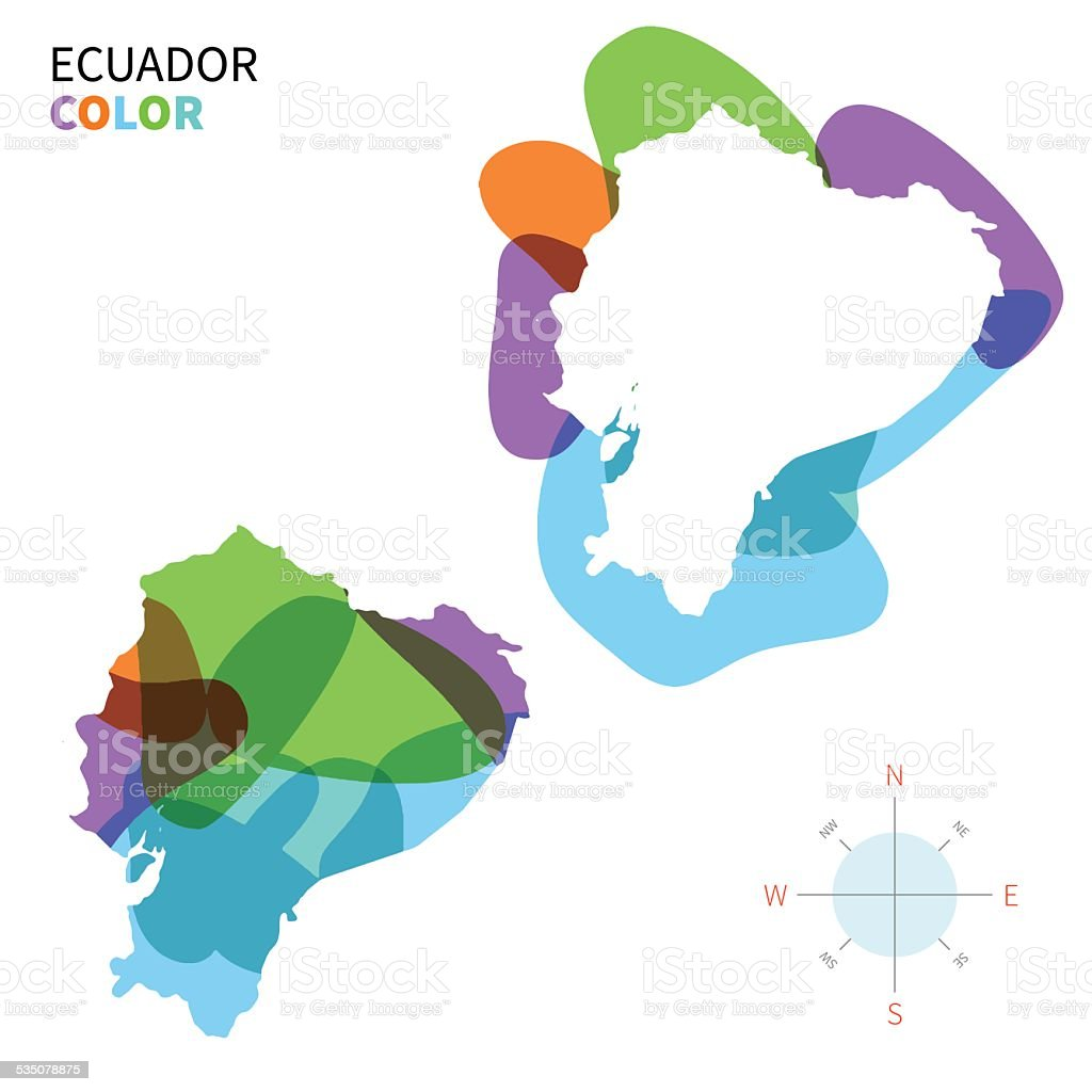 Abstract Vector Color Map Of Ecuador With Transparent Paint Effect - Colored outline map of ecuador
