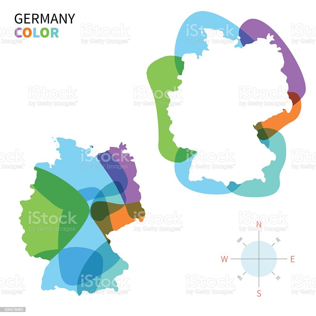 Abstract vector color map of Germany with transparent paint effect. vector art illustration
