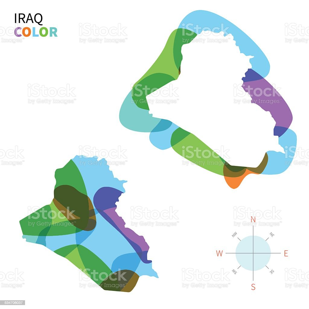 Abstract vector color map of Iraq with transparent paint effect. vector art illustration
