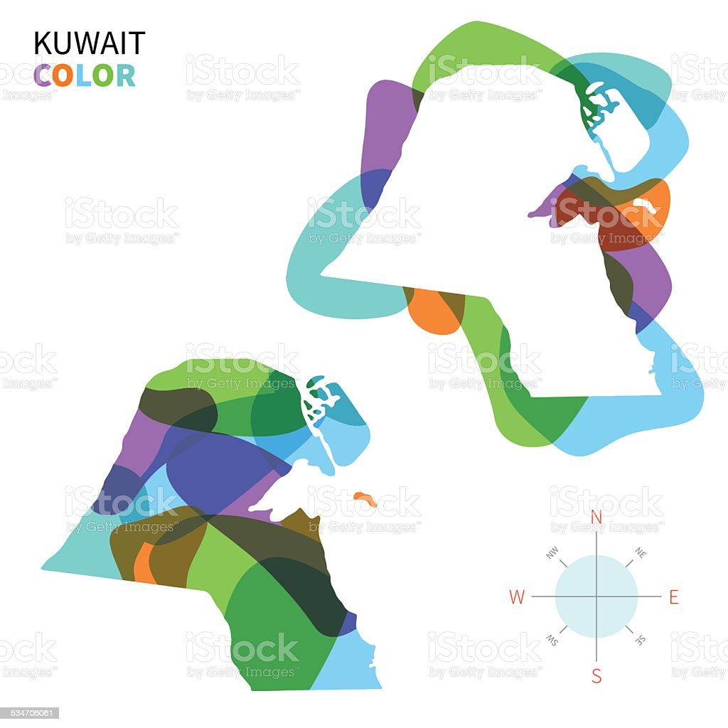 Abstract vector color map of Kuwait with transparent paint effect. vector art illustration