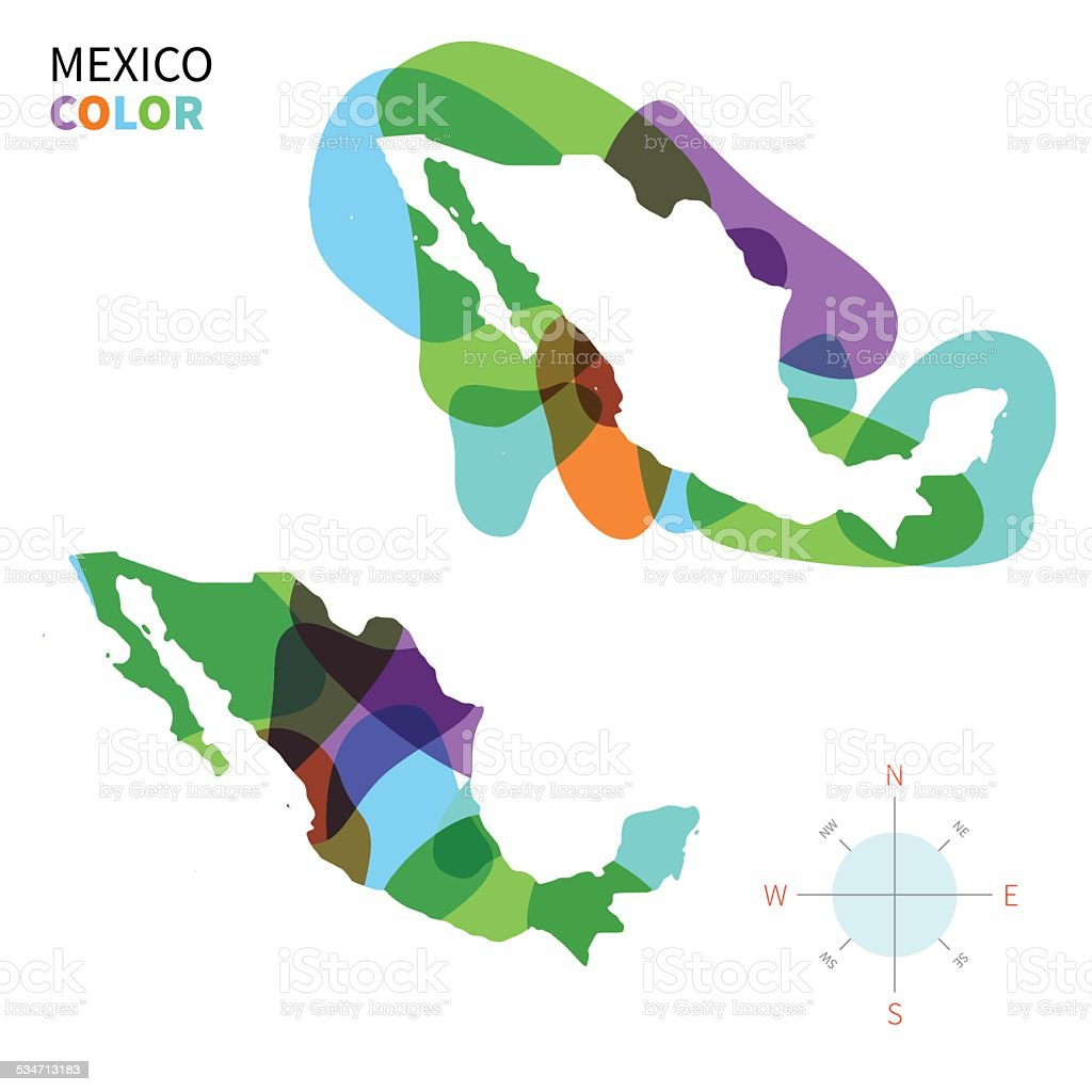 abstract vector color map of mexico with transparent paint effect