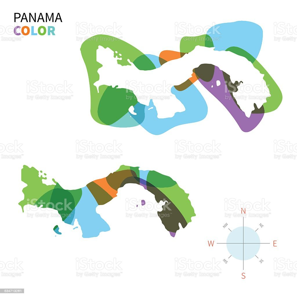 Abstract Vector Color Map Of Panama With Transparent Paint Effect - Panama map vector