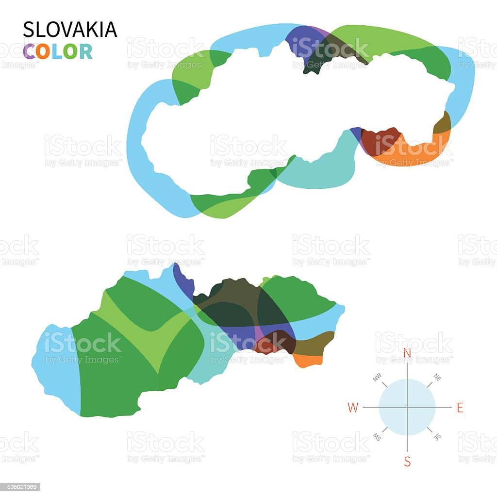 Abstract vector color map of Slovakia with transparent paint effect. vector art illustration