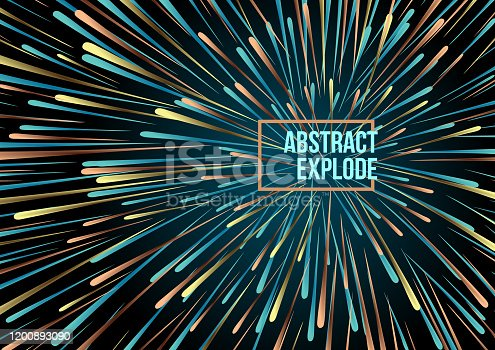 Abstract vector colorful line explode background in orange amd blue color. Firework, particle, motion speed concept