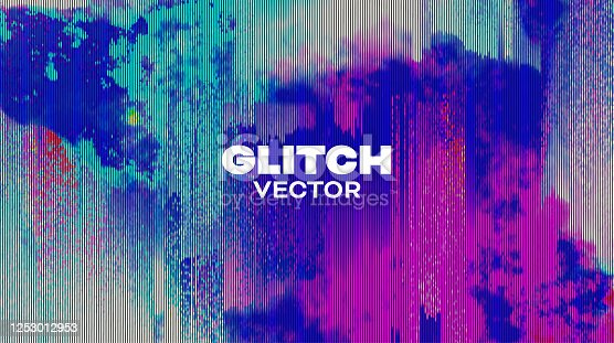 istock Abstract vector cover glitch. Pixel distorted screen vector background 1253012953