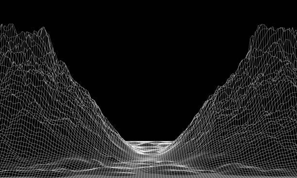 abstrakter vektor-cyberspace-hintergrund. berglandschaft gitter illustration. 3d-technologie-drahtmodell-vektor. digitales netz für banner. - canyon stock-grafiken, -clipart, -cartoons und -symbole